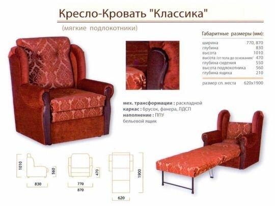 """Кресло-кровать """"Классика М"""" (ШАРМ)"""